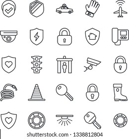 Thin Line Icon Set - plane radar vector, security gate, alarm car, border cone, lock, glove, boot, hose, heart shield, traffic light, protect, key, intercome, home, surveillance, sprinkler