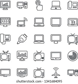 Thin Line Icon Set - plane radar vector, wireless notebook, pc, statistic monitor, pulse, tv, touch screen, laptop, hdmi, statistics, intercome