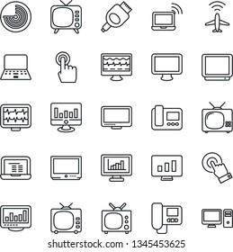 Thin Line Icon Set - plane radar vector, wireless notebook, pc, statistic monitor, pulse, tv, touch screen, hdmi, statistics, intercome