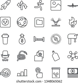 Thin Line Icon Set - plane vector, fire, hose, seeds, tomography, run, hospital bed, route, network, touch screen, share, gallery, folder, compass, bar graph, water supply, estate document, socket