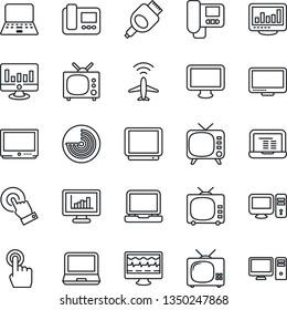 Thin Line Icon Set - plane radar vector, notebook pc, statistic monitor, pulse, tv, touch screen, laptop, hdmi, statistics, intercome