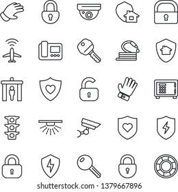 Thin Line Icon Set - plane radar vector, security gate, safe, lock, glove, hose, heart shield, traffic light, protect, key, intercome, home, surveillance, sprinkler, crisis management