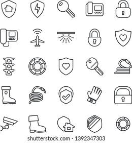 Thin Line Icon Set - plane radar vector, glove, boot, hose, heart shield, traffic light, protect, lock, key, intercome, home, surveillance, sprinkler, crisis management