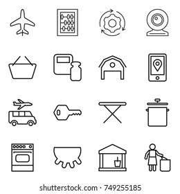 thin line icon set : plane, abacus, around gear, web cam, basket, scales weight, barn, mobile location, transfer, key, iron board, pan, oven, udder, utility room, garbage bin