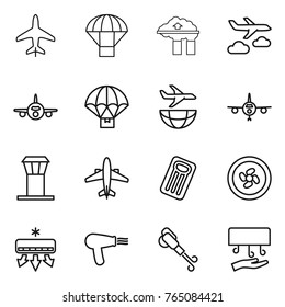 Thin line icon set : plane, parachute, factory filter, journey, delivery, shipping, airport tower, airplane, inflatable mattress, cooler fan, air conditioning, hair dryer, blower, hand