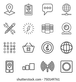 thin line icon set : pointer, report, message, globe connect, pencil wrench, lightning, server, web cam, chip, delete cart, info, mobile location, sorting, wireless, ring button