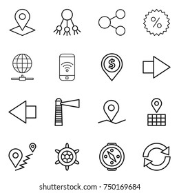 thin line icon set : pointer, share, percent, globe connect, phone wireless, dollar pin, right arrow, left, lighthouse, geo, map, route, handwheel, compass, reload