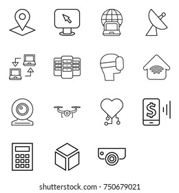 thin line icon set : pointer, monitor arrow, notebook globe, satellite antenna, connect, server, virtual mask, wireless home, web cam, drone, cardio chip, mobile pay, calculator, 3d