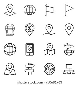 thin line icon set : pointer, globe, flag, notebook, dollar pin, geo, mobile location, map, plane shipping, signpost, compass, hierarchy