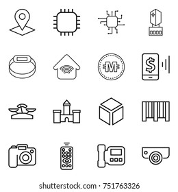 thin line icon set : pointer, chip, crystall memory, smart bracelet, wireless home, crypto currency, mobile pay, scales, castle, 3d, bar code, camera, remote control, intercome, surveillance