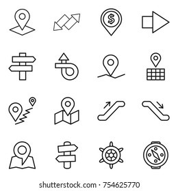 thin line icon set : pointer, up down arrow, dollar pin, right, singlepost, trip, geo, map, route, escalator, signpost, handwheel, compass