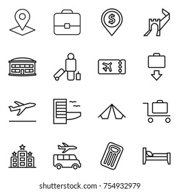 thin line icon set : pointer, portfolio, dollar pin, greate wall, airport building, passenger, ticket, baggage get, departure, hotel, tent, trolley, transfer, inflatable mattress, bed