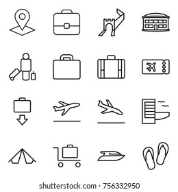 Thin line icon set : pointer, portfolio, greate wall, airport building, passenger, suitcase, ticket, baggage get, departure, arrival, hotel, tent, trolley, yacht, flip flops