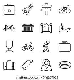 thin line icon set : portfolio, rocket, singlepost, bike, bridge, airport building, minaret, sea shipping, fragile, tourist, suitcase, map, inflatable pool