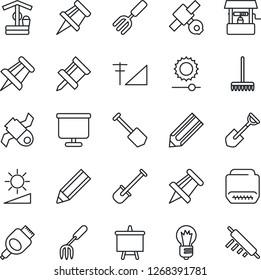 Thin Line Icon Set - presentation board vector, drawing pin, bulb, job, pencil, garden fork, shovel, rake, well, satellite, hdmi, brightness, cellular signal, rolling