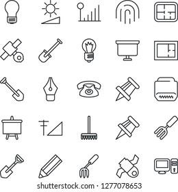 Thin Line Icon Set - presentation board vector, drawing pin, bulb, job, garden fork, shovel, rake, satellite, hdmi, brightness, fingerprint id, cellular signal, ink pen, pencil, plan, phone, pc