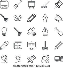 Thin Line Icon Set - presentation board vector, drawing pin, bulb, job, pencil, shovel, rake, satellite, hdmi, brightness, ink pen, plan, phone, rolling, pc