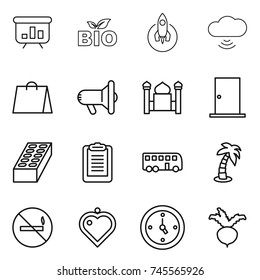thin line icon set : presentation, bio, rocket, cloud wireless, shopping bag, megafon, minaret, door, brick, clipboard, bus, palm, no smoking, heart pendant, watch, beet