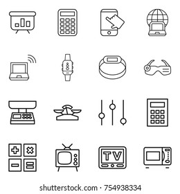 thin line icon set : presentation, calculator, touch, notebook globe, wireless, smart watch, bracelet, glasses, market scales, equalizer, tv, microwave oven
