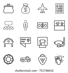 thin line icon set : purse, money bag, plane, abacus, structure, smart watch, tools, barn, location details, atm, diving mask, lifebuoy, pickup, strawberry, wiping