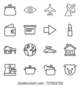 Thin line icon set : purse, eye, plane, satellite antenna, wallet, atm receipt, right arrow, lipstick, house with garage, globe, car baggage, home, coffee maker, pan, steam, pig