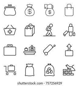Thin line icon set : purse, money bag, gift, shopping, add to basket, tourist, passenger, suitcase, baggage checking, trolley, flour, garbage, construct