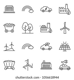 thin line icon set - rainbow vector, sun panel, mine trolley, windmill, hydro power plant, forest, eco factory, car, electric