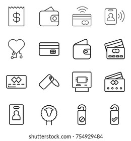 thin line icon set : receipt, wallet, tap to pay, pass card, cardio chip, credit, label, atm, identity, sheep, do not distrub, please clean
