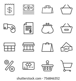 Thin line icon set : receipt, money, shopping bag, basket, hand coin, account balance, purse, remove from, market, sale, percent, credit card, cart