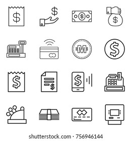 Thin line icon set : receipt, investment, money, gift, cashbox, tap to pay, crypto currency, dollar coin, account balance, mobile, credit card, atm