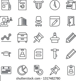 Thin Line Icon Set - reception vector, office building, chair, pennant, graduate, tie, document, factory, reload, pencil, clock, notes, calendar, drawing pin, pie graph, news, identity card, hr