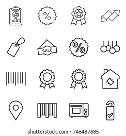 thin line icon set : report, percent, medal, up down arrow, label, sale, bar code, smart house, geo pin, grill oven, please clean