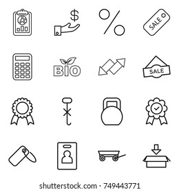 thin line icon set : report, investment, percent, sale, calculator, bio, up down arrow, medal, do not hook sign, heavy, label, identity card, trailer, package
