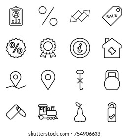 thin line icon set : report, percent, up down arrow, sale label, medal, info, smart house, geo pin, do not hook sign, heavy, train, pear, please clean