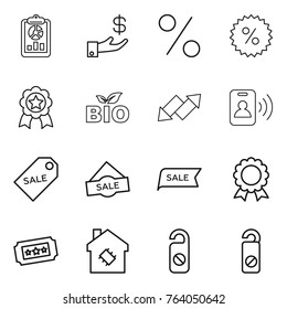 Thin line icon set : report, investment, percent, medal, bio, up down arrow, pass card, sale label, ticket, smart house, do not distrub