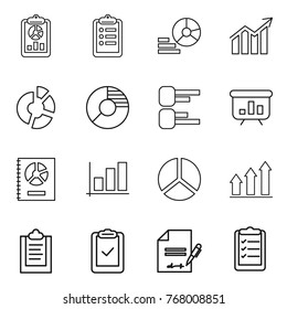 Thin line icon set : report, clipboard, diagram, circle, presentation, annual, graph, up, check, inventory, list