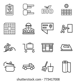 Thin line icon set : report, diagram, bio, sun power, cpu, mansion, location details, courier delivery, surfer, baggage trolley, wardrobe, iron, steam pan, pickup, bucket and broom, paper towel