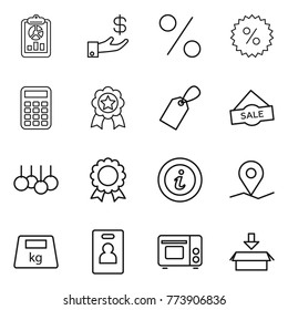 Thin line icon set : report, investment, percent, calculator, medal, label, sale, info, geo pin, heavy, identity card, grill oven, package