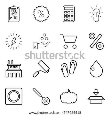 Thin Line Icon Set Report Percent Stock Vector (Royalty Free