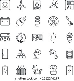 Thin Line Icon Set - ripper vector, battery, rca, charge, desk lamp, heater, fridge, home control, socket, power plug, fan, water, air conditioner, warm floor, bulb, energy saving, windmill
