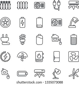 Thin Line Icon Set - ripper vector, battery, low, rca, charge, desk lamp, air conditioner, fridge, home control, power plug, fan, water heater, radiator, energy saving bulb, windmill