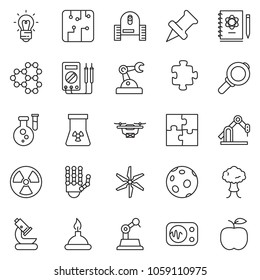 thin line icon set - robot hand vector, microscope, flask, logbook, bulb, molecule, nuclear, moon, spirit lamp, measurement, manufacture, circuit, windmill, puzzle, drone, bang, magnifier, apple