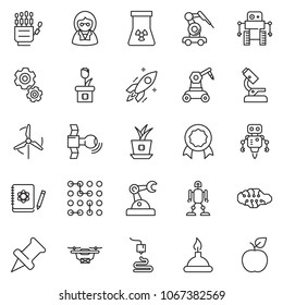 thin line icon set - robot hand vector, microscope, neural network, logbook, rocket, nuclear, satellite, spirit lamp, 3d printer, manufacture, circuit, gear, windmill, plant chip, drone, scientist