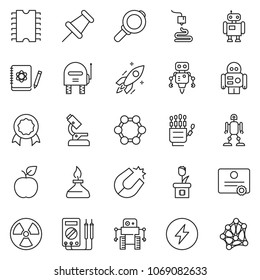 thin line icon set - robot hand vector, microscope, logbook, rocket, molecule, magnet, nuclear, spirit lamp, 3d printer, measurement, cpu chip, plant, magnifier, certificate, drawing pin, apple