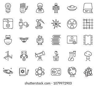 thin line icon set - robot hand vector, telescope, atom, owl, flask, logbook, bulb, nuclear, globe, saturn, satellite, 3d printer, measurement, manufacture, cpu chip, circuit, windmill, plant, drone