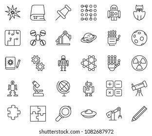 thin line icon set - robot hand vector, microscope, telescope, owl, logbook, molecule, nuclear, globe, saturn, moon, calculator, manufacture, circuit, gear, puzzle, drone, bang, magnifier, ufo, book