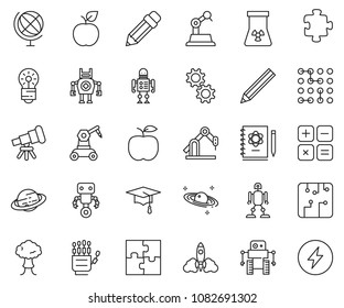 thin line icon set - robot hand vector, telescope, logbook, rocket, bulb, nuclear, globe, saturn, graduate hat, calculator, manufacture, circuit, gear, puzzle, bang, pencil, apple, power