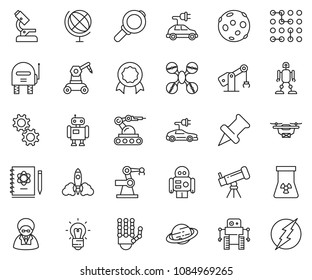 thin line icon set - robot hand vector, microscope, telescope, logbook, rocket, bulb, nuclear, globe, saturn, moon, manufacture, circuit, gear, electric car, drone, magnifier, scientist, certificate