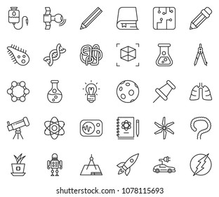 thin line icon set - rocket vector, drawing compass, flask, draw, bactery, dna, lungs, intestines, drop counter, telescope, atom, logbook, bulb, molecule, moon, satellite, measurement, robot, book