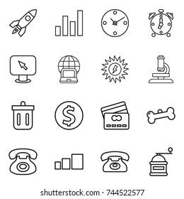 thin line icon set : rocket, graph, clock, alarm, monitor arrow, notebook globe, sun power, microscope, bin, dollar coin, credit card, bone, phone, sorting, hand mill